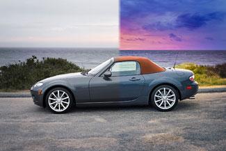 Zdalna edycja i retusz zdjęć - Mazda MX-5 na tle morza